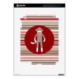 Cute Sock Monkey on Red Circle Red Brown Stripes Decals For iPad 3