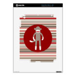 Cute Sock Monkey on Red Circle Red Brown Stripes Decals For The iPad 2