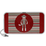 Cute Sock Monkey on Red Circle Red Brown Stripes PC Speakers