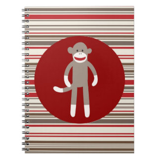 Cute Sock Monkey on Red Circle Red Brown Stripes Spiral Notebook