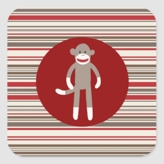 Cute Sock Monkey on Red Circle Red Brown Stripes Square Sticker