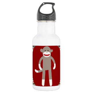 Cute Sock Monkey on Red Circle Red Brown Stripes Stainless Steel Water Bottle