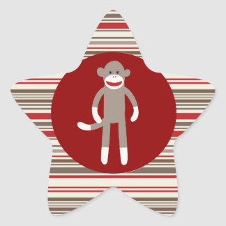 Cute Sock Monkey on Red Circle Red Brown Stripes Star Sticker