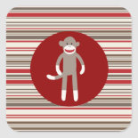 Cute Sock Monkey on Red Circle Red Brown Stripes Stickers
