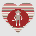 Cute Sock Monkey on Red Circle Red Brown Stripes Sticker