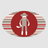 Cute Sock Monkey on Red Circle Red Brown Stripes Oval Stickers