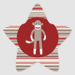 Cute Sock Monkey on Red Circle Red Brown Stripes Star Stickers