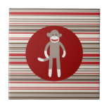 Cute Sock Monkey on Red Circle Red Brown Stripes Tile
