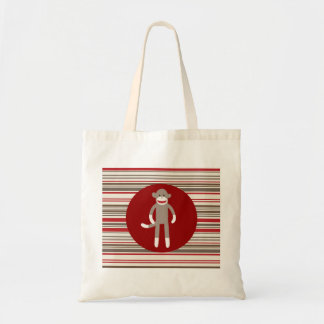 Cute Sock Monkey on Red Circle Red Brown Stripes Tote Bag