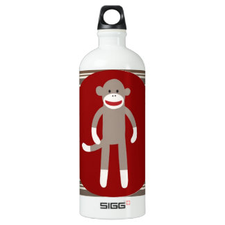 Cute Sock Monkey on Red Circle Red Brown Stripes Water Bottle