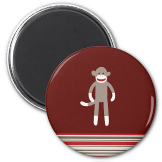 Cute Sock Monkey on Red with Stripes 2 Inch Round Magnet