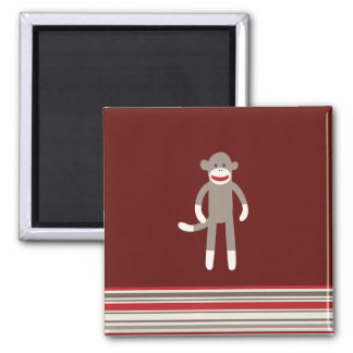 Cute Sock Monkey on Red with Stripes 2 Inch Square Magnet