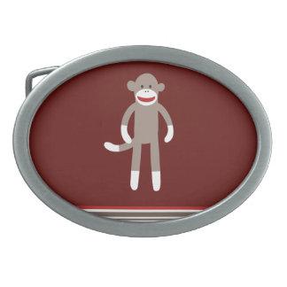 Cute Sock Monkey on Red with Stripes Belt Buckle
