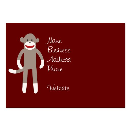 Cute Sock Monkey on Red with Stripes Business Card
