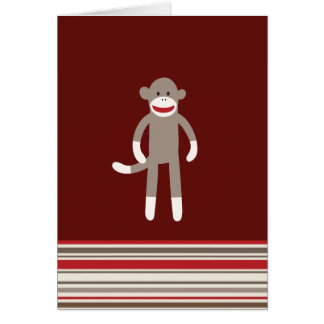 Cute Sock Monkey on Red with Stripes Greeting Cards