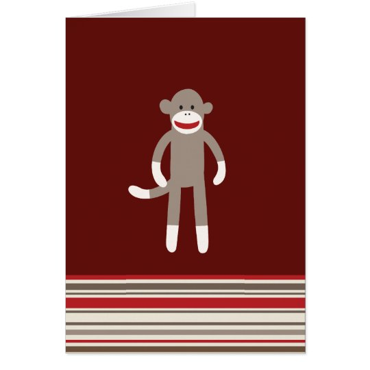 Cute Sock Monkey on Red with Stripes Card