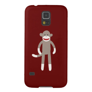 Cute Sock Monkey on Red with Stripes Galaxy S5 Cases