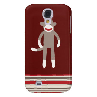 Cute Sock Monkey on Red with Stripes Samsung Galaxy S4 Covers