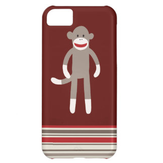 Cute Sock Monkey on Red with Stripes Cover For iPhone 5C