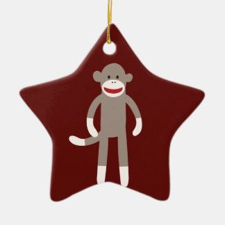 Cute Sock Monkey on Red with Stripes Ceramic Ornament
