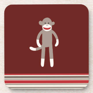 Cute Sock Monkey on Red with Stripes Coaster