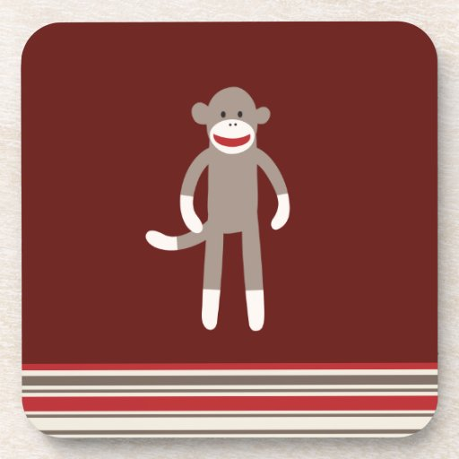 Cute Sock Monkey on Red with Stripes Drink Coaster