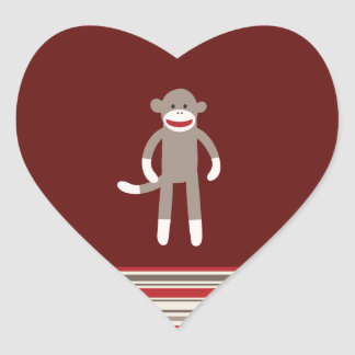 Cute Sock Monkey on Red with Stripes Heart Sticker