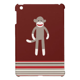 Cute Sock Monkey on Red with Stripes Cover For The iPad Mini