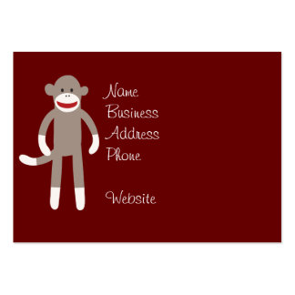 Cute Sock Monkey on Red with Stripes Large Business Card
