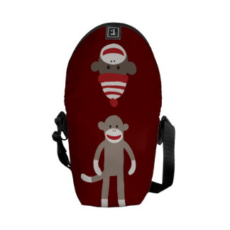 Cute Sock Monkey on Red with Stripes Courier Bag