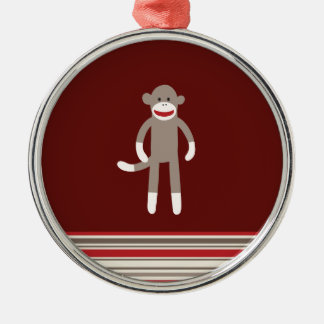 Cute Sock Monkey on Red with Stripes Metal Ornament