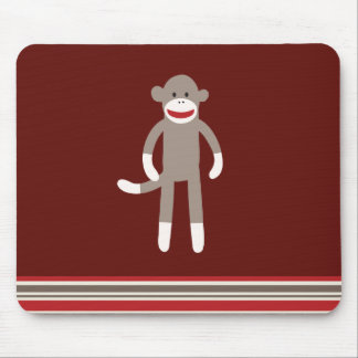 Cute Sock Monkey on Red with Stripes Mouse Pad
