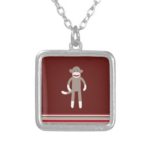 Cute Sock Monkey on Red with Stripes Necklace