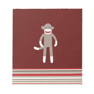Cute Sock Monkey on Red with Stripes Notepad