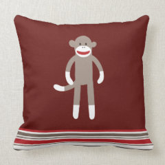 Cute Sock Monkey on Red with Stripes Pillow