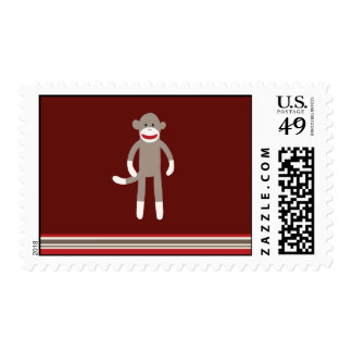 Cute Sock Monkey on Red with Stripes Postage