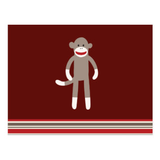 Cute Sock Monkey on Red with Stripes Postcard
