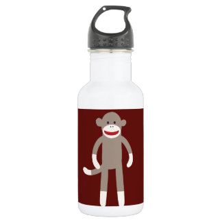 Cute Sock Monkey on Red with Stripes Stainless Steel Water Bottle