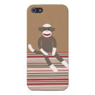 Cute Sock Monkey Red Tan Striped iPhone 5 Case