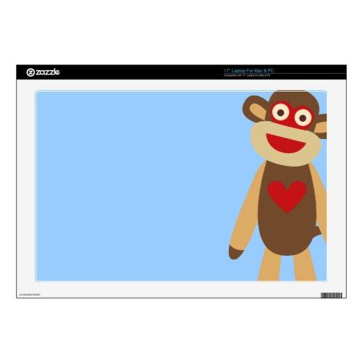 """Cute Sock Monkey 17"""" Laptop Skins"""