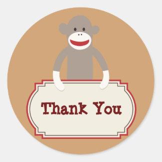 Cute Sock Monkey Thank You Stickers