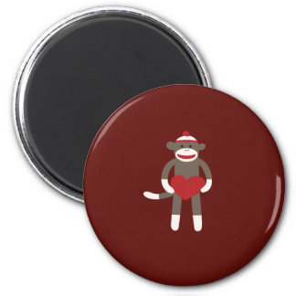 Cute Sock Monkey with Hat Holding Heart 2 Inch Round Magnet
