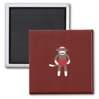 Cute Sock Monkey with Hat Holding Heart 2 Inch Square Magnet