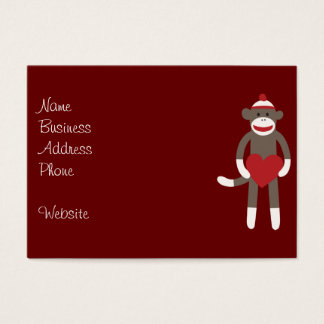 Cute Sock Monkey with Hat Holding Heart Business Card