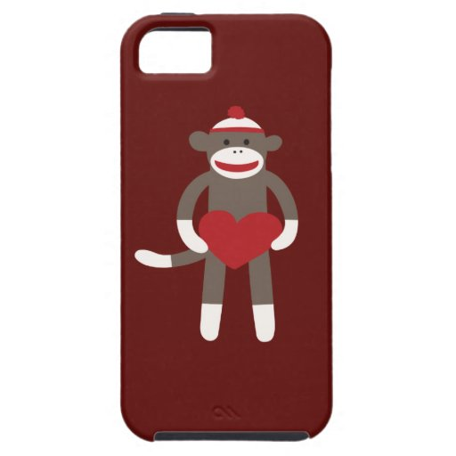 Cute Sock Monkey with Hat Holding Heart iPhone 5 Cases