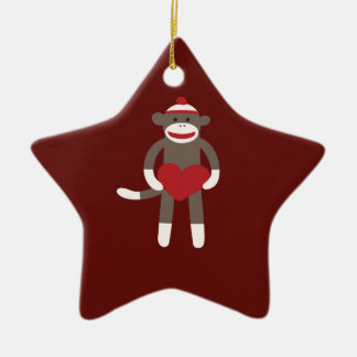 Cute Sock Monkey with Hat Holding Heart Ceramic Ornament