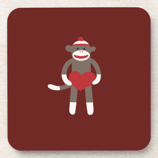 Cute Sock Monkey with Hat Holding Heart Coasters