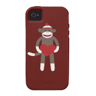 Cute Sock Monkey with Hat Holding Heart iPhone 4/4S Cases