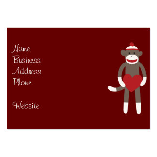 Cute Sock Monkey with Hat Holding Heart Large Business Card