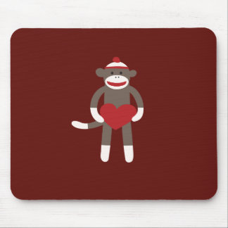 Cute Sock Monkey with Hat Holding Heart Mouse Pad